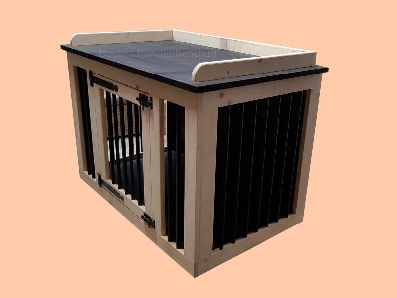 Hondenbench-in-blank-hout-en-zwart-gekleurd-bovenblad
