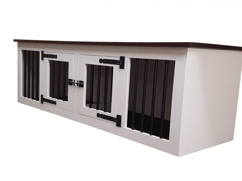 Houten hondenbench in wit met bruin bovenblad 220 x 70 x 70 cm