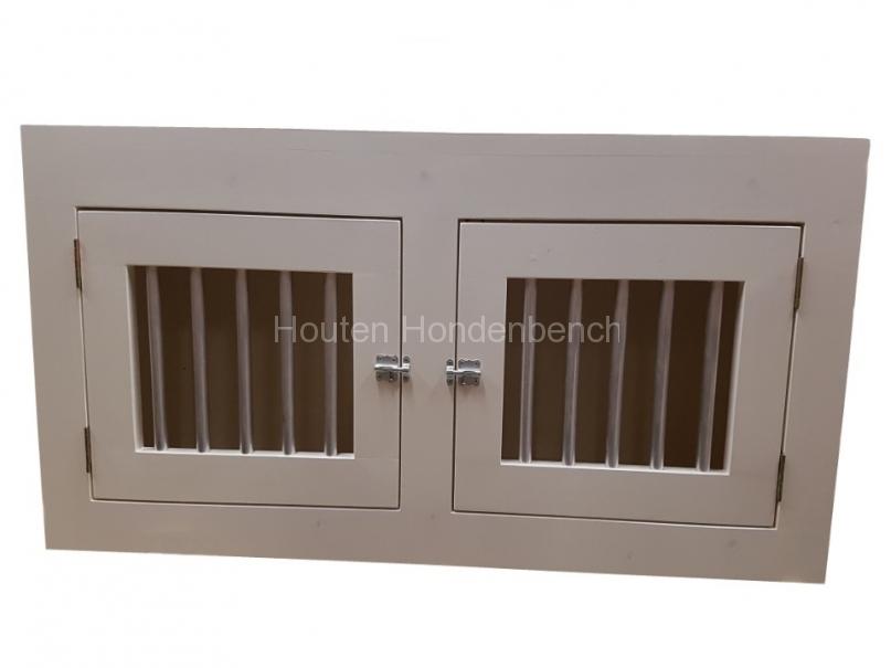 houten hondenbench wit met 2 deuren en tussenschot
