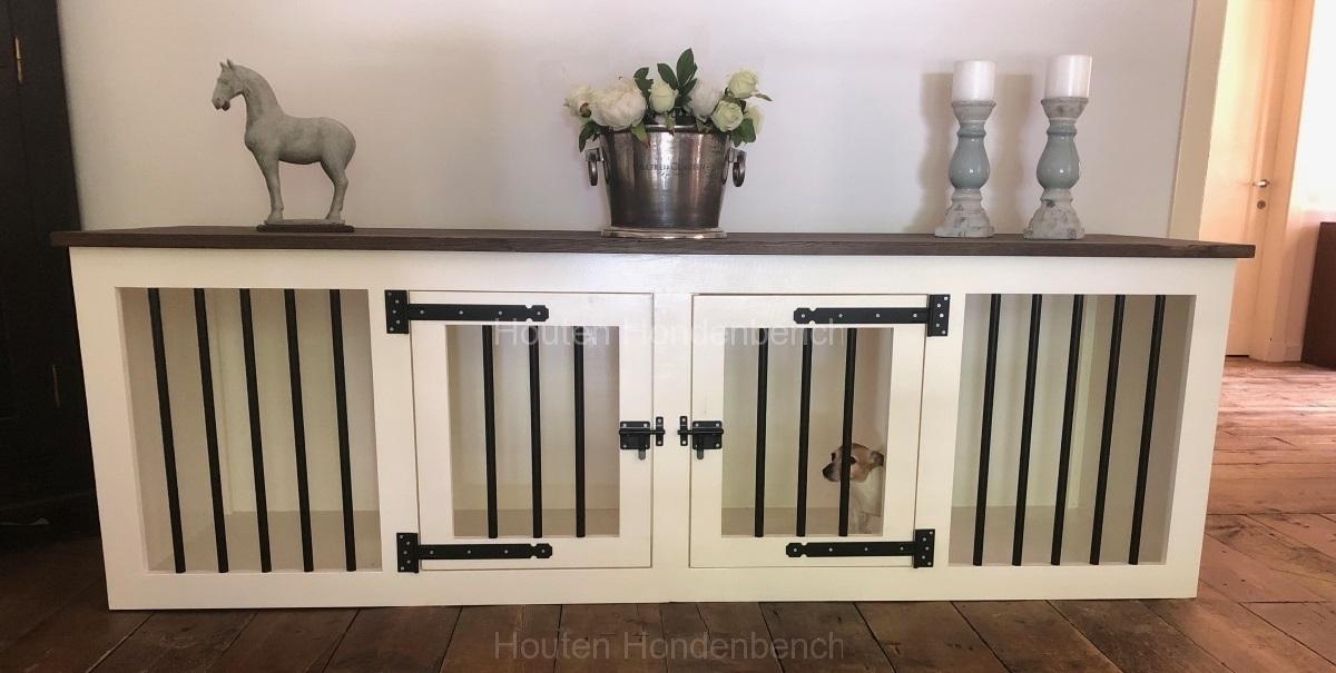 hondenbench wit met bruin noten bovenblad