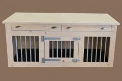 Hondenbench-van-hout-met-2-deuren-en-laden