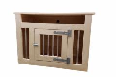 Houten hondenbench tv meubel in blank hout en blank beslag