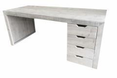 Bureau met lades van steigerhout in de kleur ligt grijs Grey Wash