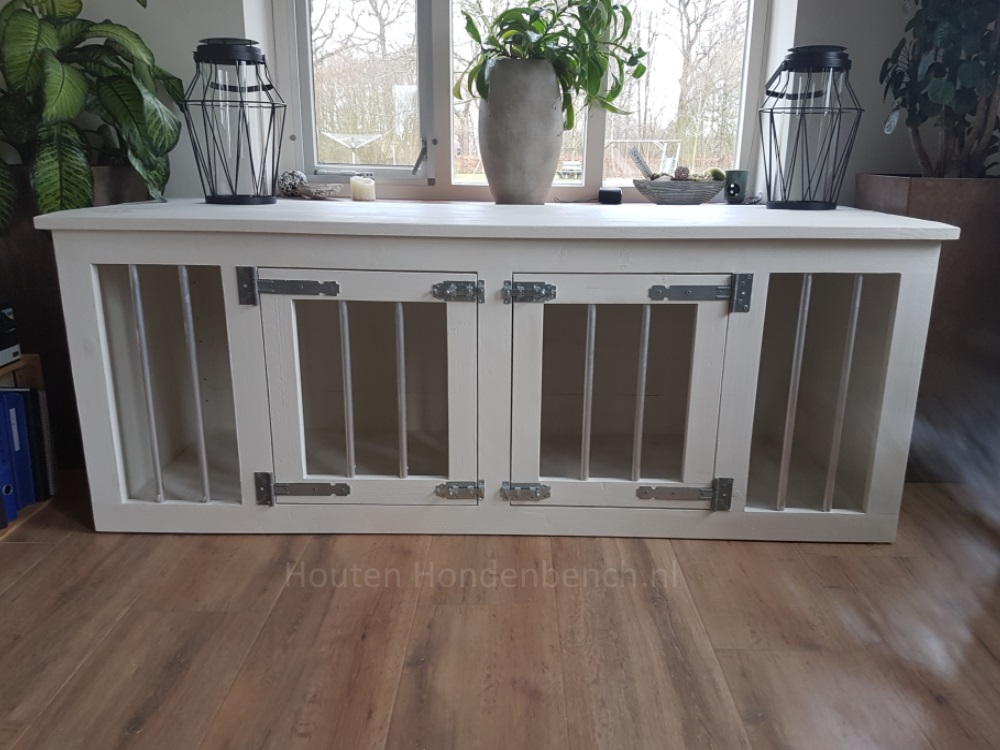hondenbench wit hout met 2 deuren